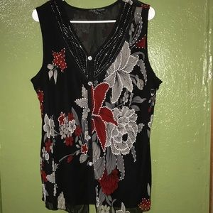 Floral black, red and gray blouse
